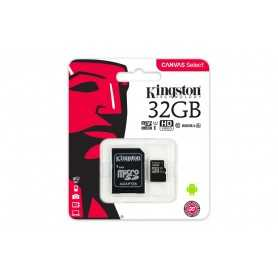 MICRO SD KINGSTON 32GB CANVAS SELECT UHS-I C10 R80 CON ADAPTADOR