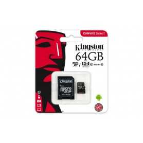 MICRO SD KINGSTON 64GB CANVAS SELECT UHS-I C10 R80 CON ADAPTADOR