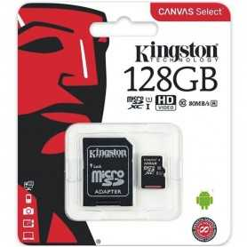 MICRO SD KINGSTON 128GB CANVAS SELECT UHS-I C10 R80 CON ADAPTADOR